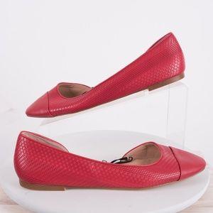 Zara Womens Red Ballerinas Ballet Flats 7.5 New